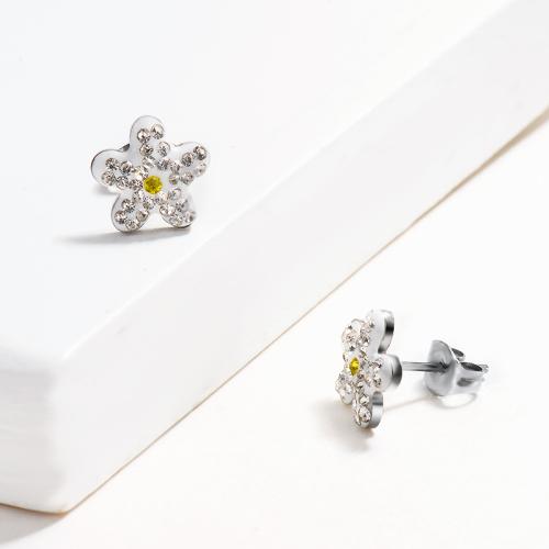 Pendientes de botón de diseño floral de joyería de acero inoxidable