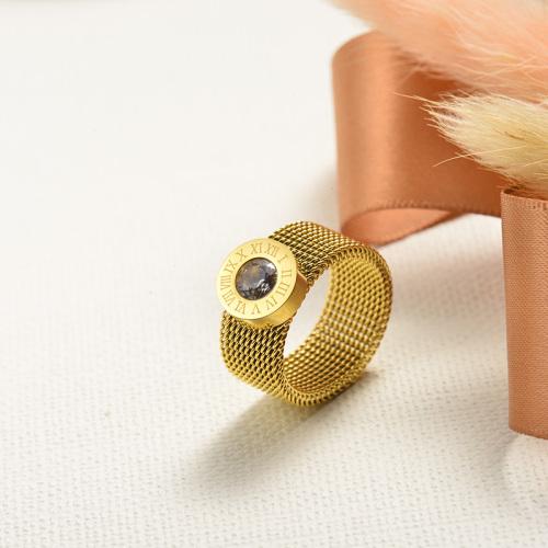 Anillo simple de cristal romano chapado en oro de acero inoxidable al por mayor