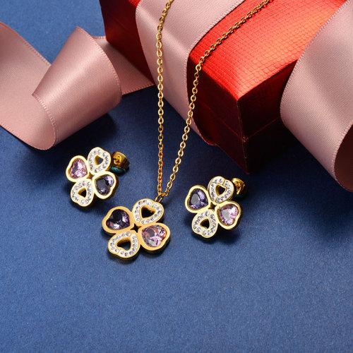 Sistemas de la joyería de la flor del corazón del cristal del oro del acero inoxidable