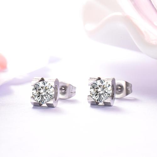 Bijoux en acier inoxydable argenté Boucles d'oreilles en diamant de style simple