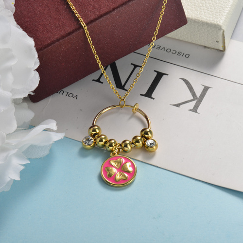 Collier or pendentif bague rose