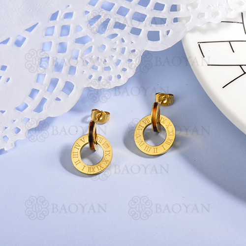 Gold Plated Jewelry Rome Design Stainless Steel  Roman numerals Earrings