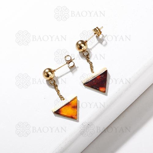 Boucles d'oreilles en forme de triangle de léopard d'acier inoxydable de mode de conception de bijoux plaqué or