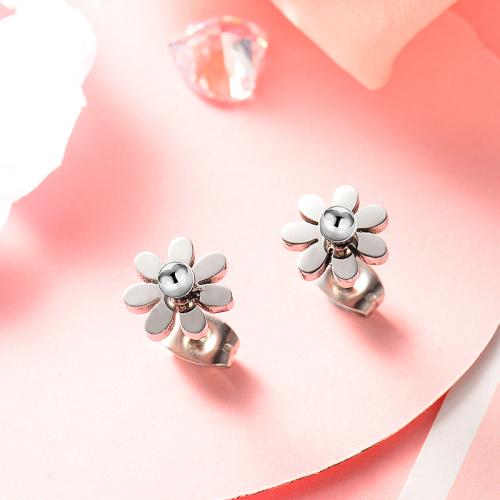 Silver Stainless Steel Jewelry Simple Style Daisy Stud Earrings