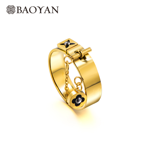 Wholesale Stainless Steel Fashion  Gold Plated Flower Wedding Ring