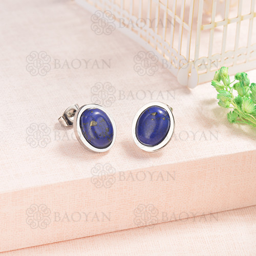 Silver Plated Stainless Steel Jewelry  Personality Sapphire Earrings