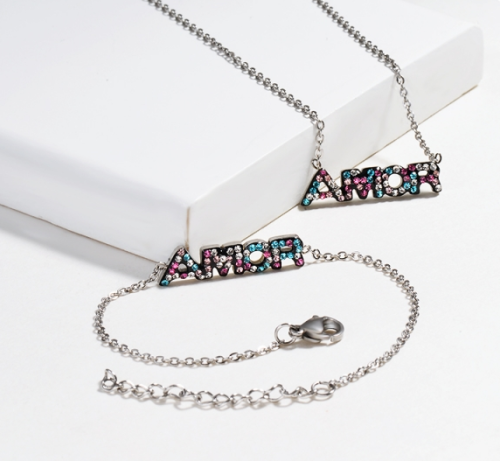 Stainless Steel Initial Jewelry Sets -SSBNG143-14813-S