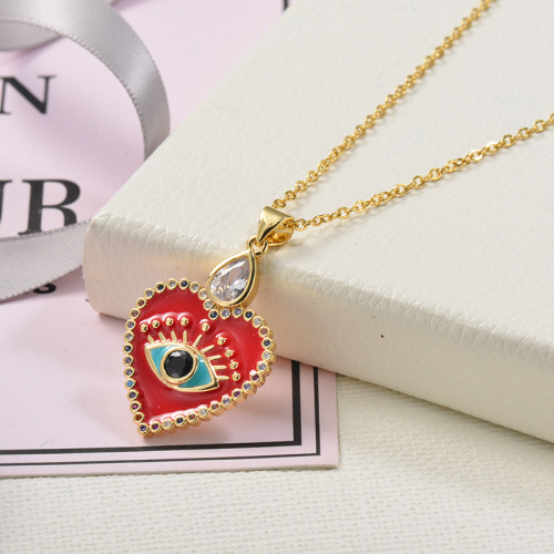 Fancy diamond red heart-shaped gold necklace