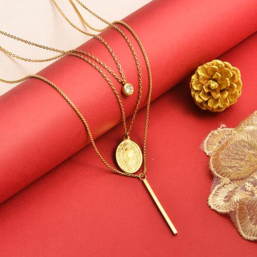 Collar de oro multicapa de Nuestra Señora de Estilo Simple