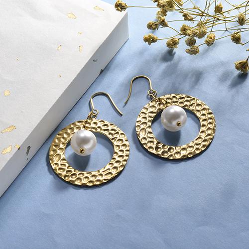 Pendiente de la perla de la moda de la textura de la joyería del acero inoxidable plateado oro