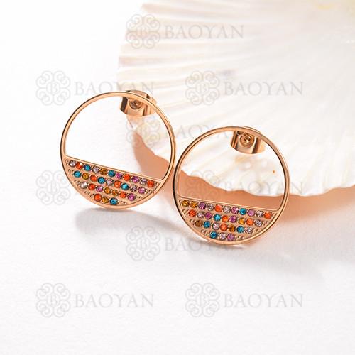 Pendientes de botón multicolor de acero inoxidable con diseño Siemple de joyería chapada en oro rosa