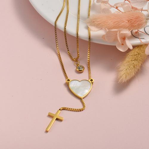 Collar de capas de oro blanco en forma de corazón