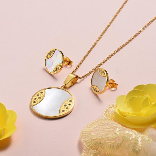 Conjuntos de pendientes de collar de concha chapados en oro de acero inoxidable
