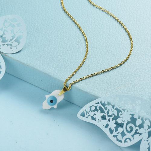 Collier en or simple palmier blanc