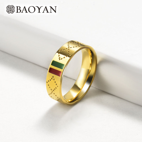 Wholesale Stainless Steel Fashion Famous Brand  Gold Plated Wedding Ring