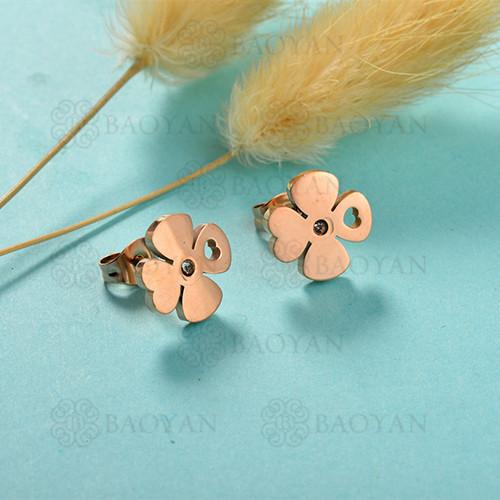Pendientes de botón de flor de acero inoxidable con diseño Siemple de joyería chapada en oro rosa