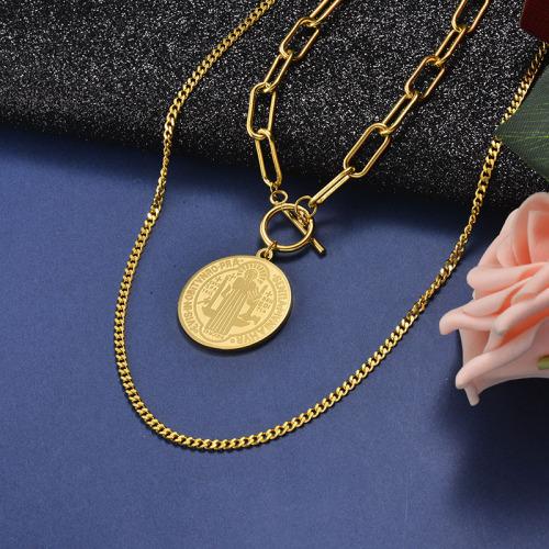 Collar de oro en capas con colgante virgen