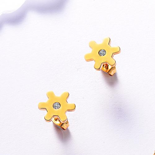 Boucles d'oreilles en acier inoxydable de mode de conception de bijoux plaqués or
