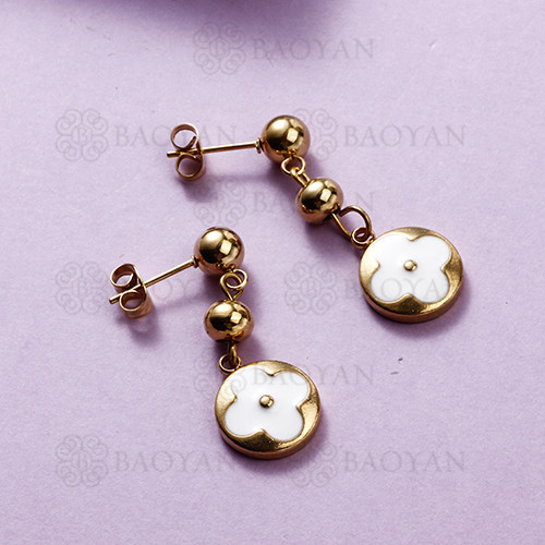 Pendientes colgantes de flores de acero inoxidable con diseño de Siemple de joyería chapada en oro