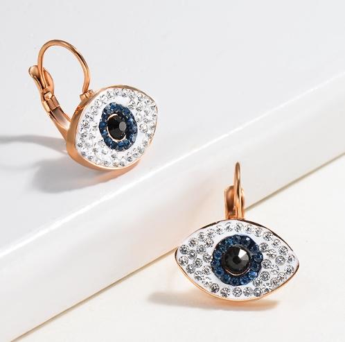 Pendientes Evil Eyes del acero inoxidable del diseño de Siemple de la joyería chapada en oro rosa