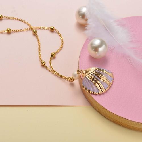 Collar de oro estilo simple concha rosa