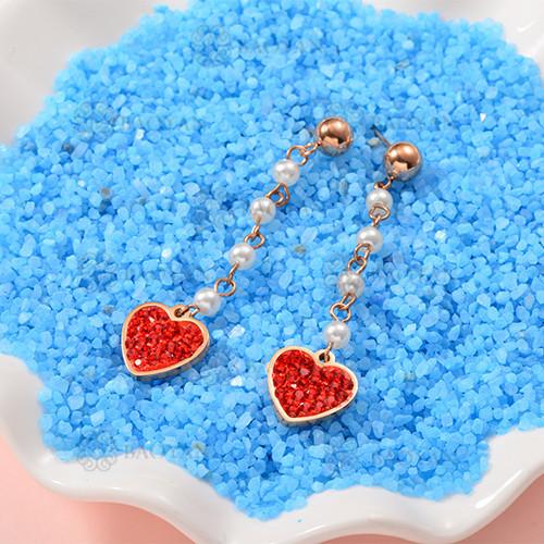 Bijoux plaqués or rose Siemple Design Boucles d'oreilles coeur en acier inoxydable