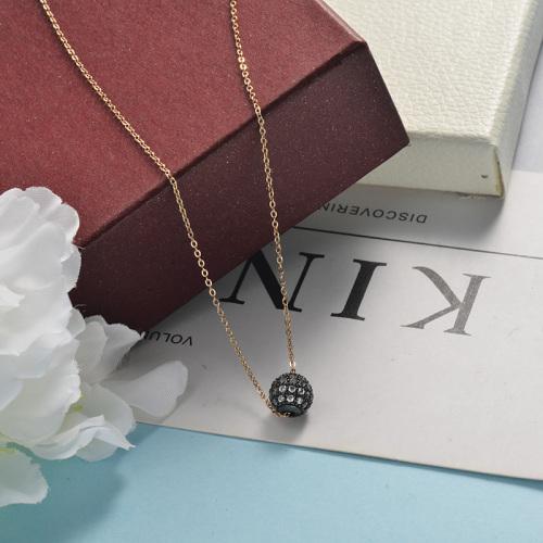 Collier or rose petite sphère noire