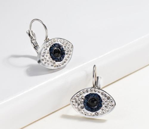 Joyas de acero inoxidable de plata Pendientes de diamantes de ojos malvados de estilo simple
