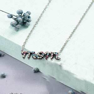 Colorful clay diamond alphabet silver necklace