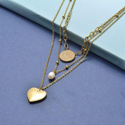 Collar con capas de oro estilo vintage en forma de corazón