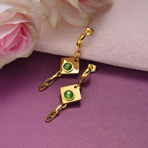 Joyas chapadas en oro Pendientes colgantes de esmeralda de acero inoxidable