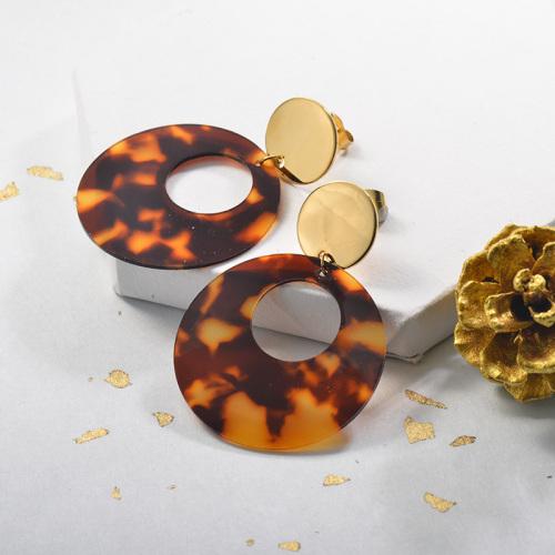 Pendientes de acetato de carey de acero inoxidable con baño de oro