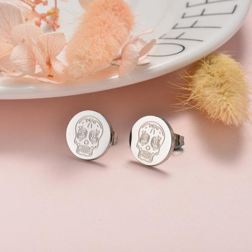 Joyas de acero inoxidable plateado Pendientes de botón de calavera de estilo simple