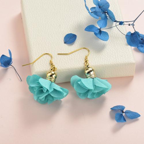 Joyas de acero inoxidable Pendientes de diseño floral Flor azul cielo