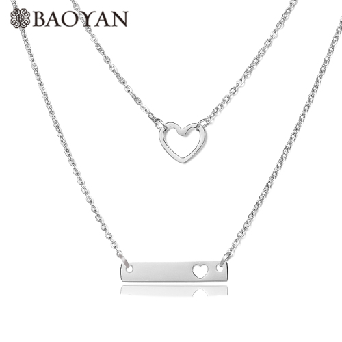 Collar de plata en capas en forma de corazón de moda