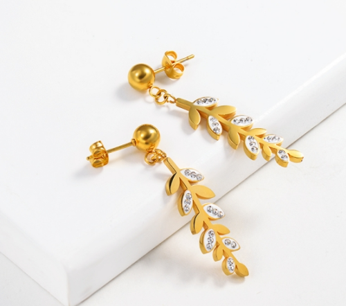 Gold Plated Jewelry Design Fashion Stainless Steel Cereal Leaf Earrings