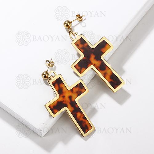 Pendientes de cruz de leopardo de acero inoxidable con diseño de joyería chapados en oro