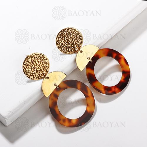Boucles d'oreilles créoles léopard en acier inoxydable de mode de conception de bijoux plaqué or