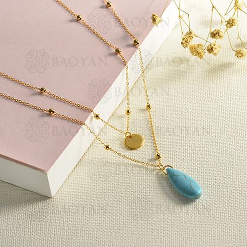 Collar de oro multicapa estilo piedra azul de moda