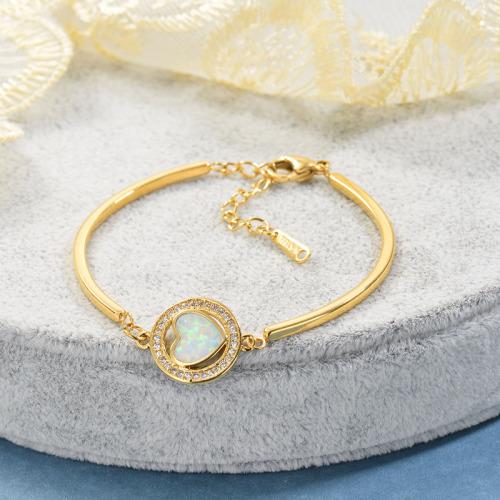 Colgante de ópalo en forma de corazón de cobre Brazalete de acero inoxidable chapado en oro