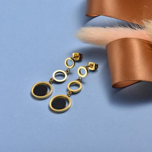 Pendientes de gota de acero inoxidable de moda de diseño de joyería chapada en oro