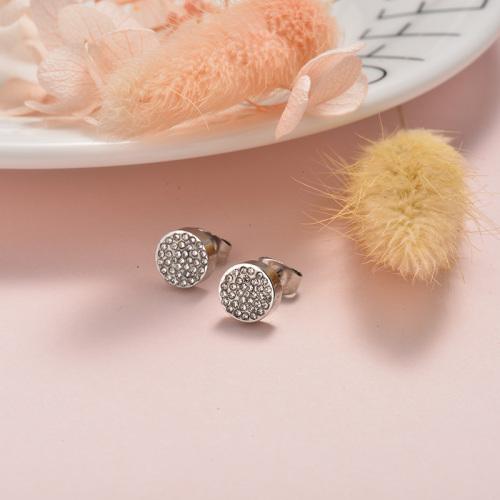 Pendientes de botón de estilo simple de joyería de acero inoxidable plateado