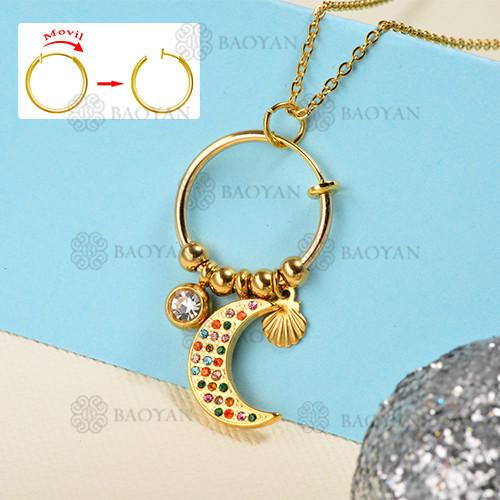 Collar de oro estilo diamante color moda luna
