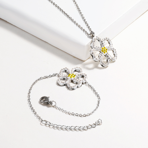 Stainless Steel Flower Jewelry Sets -SSBNG143-14832-S