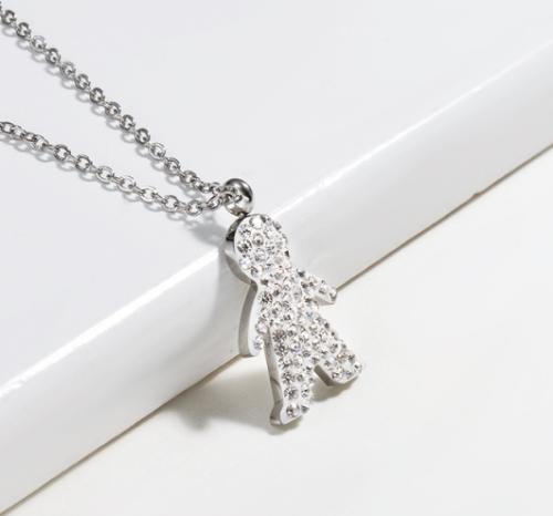 Clay diamond portrait silver necklace