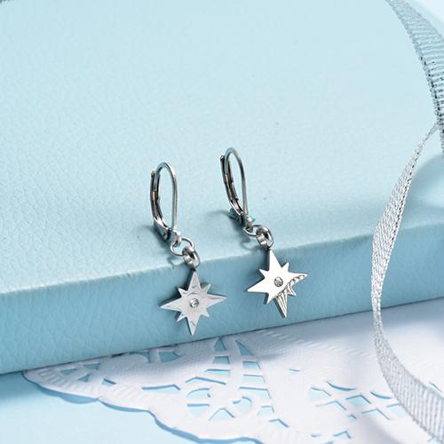 Silver Stainless Steel Jewelry Simple Style Diamond Star Earrings
