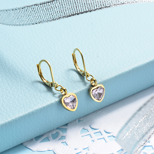 Rose Gold Plated Jewelry Siemple Design Stainless Steel Heart Crystal Earrings
