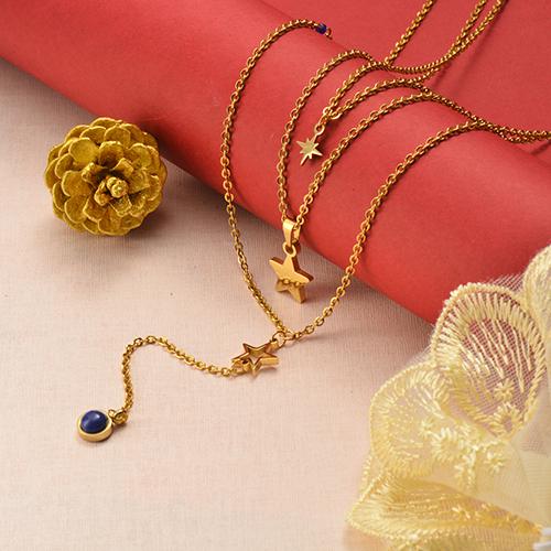 Collar de oro multicapa estilo simple estrella