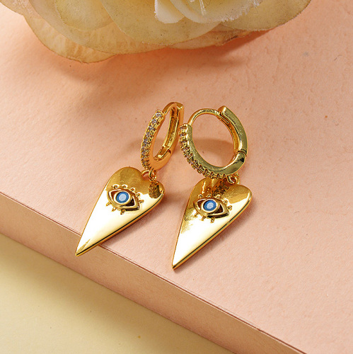 Joyas chapadas en oro Diseño hecho a mano Pendientes Huggie de ojos malvados de acero inoxidable