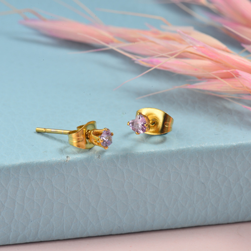 Bijoux plaqués or Boucles d'oreilles en diamant en acier inoxydable